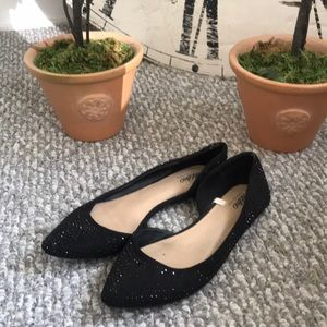 Black d'orsay flats with shiny black sparkly studs